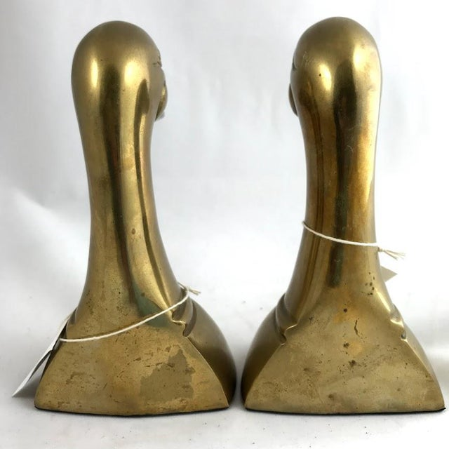 Vintage Mid-Century Modern Brass Mallard Bookends - a Pair For Sale In Minneapolis - Image 6 of 8