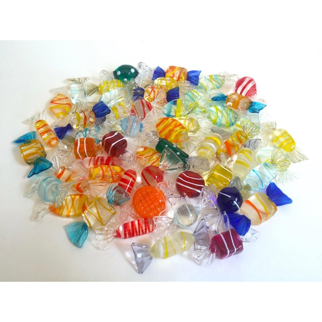 Vintage Mid Century Modern Italian Hand Blown Murano Art Glass Candies - Set of 52 For Sale - Image 10 of 11