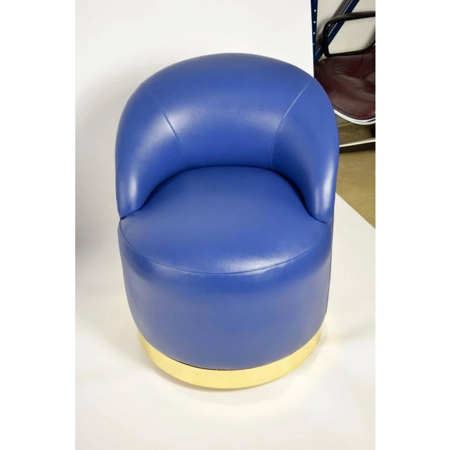 Early 20th Century Karl Springer Style Chairs in Blue Leather with Brass Finish Base on Casters For Sale - Image 5 of 7
