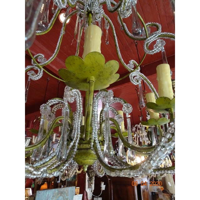 French Beaded Crystal Chandelier For Sale - Image 4 of 13