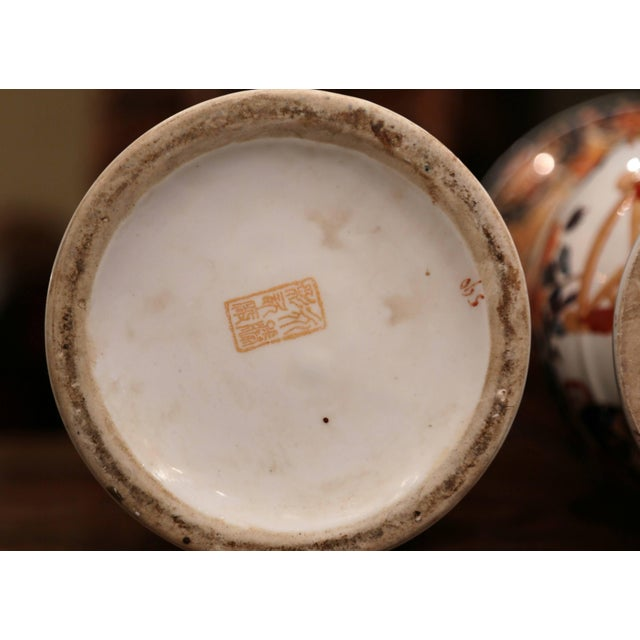 Pair of Early 20th Century Japanese Painted and Gilt Porcelain Imari Vases For Sale - Image 9 of 11