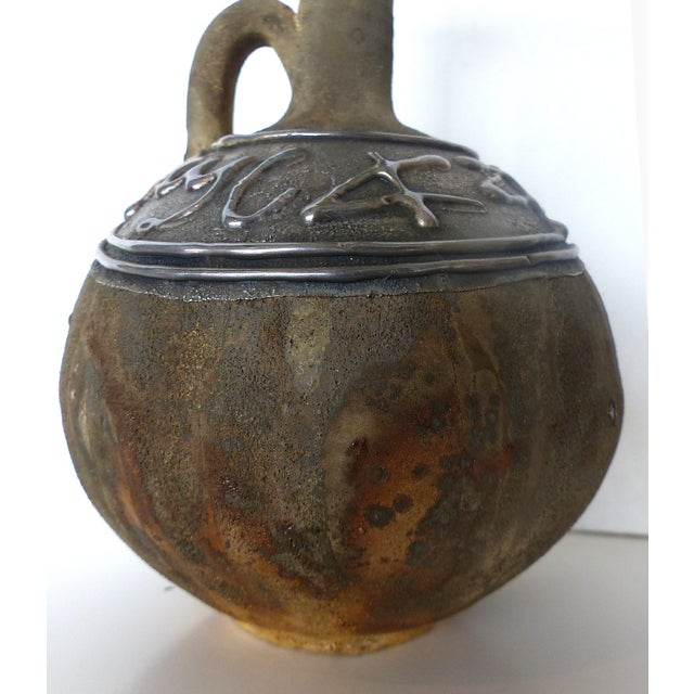 Silver Gazelle Overlay Pottery Jar For Sale - Image 4 of 8