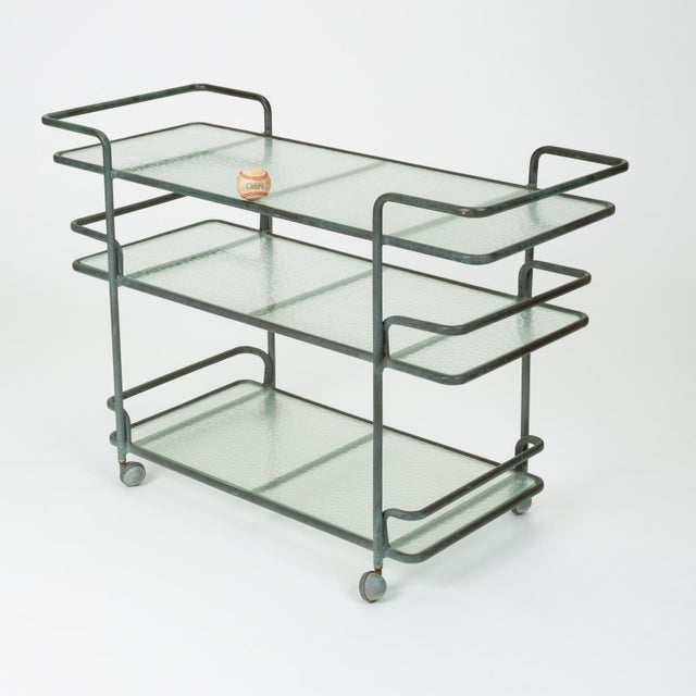 Richard Frinier Bronze Bar Cart for Brown Jordan For Sale In Los Angeles - Image 6 of 13