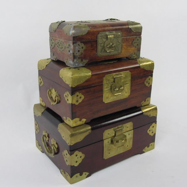 Asian Antique Chinese Jewelry Boxes With Jade - Set of 3 For Sale - Image 3 of 9