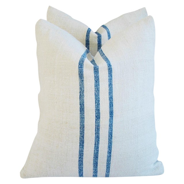 French Grain Sack Down & Feather Pillows - Pair - Image 1 of 11