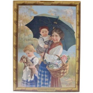 1900 Belle Epoque Biscuits Lu French Poster, Woman With Children + Dog For Sale