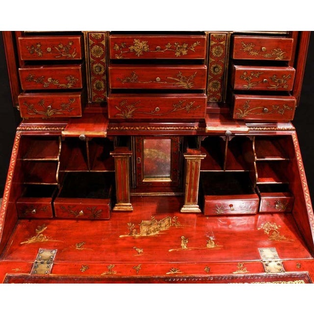 Wood Mid 20th Century George III Style Chinoiserie Red Lacquered Secretary Bookcase For Sale - Image 7 of 8