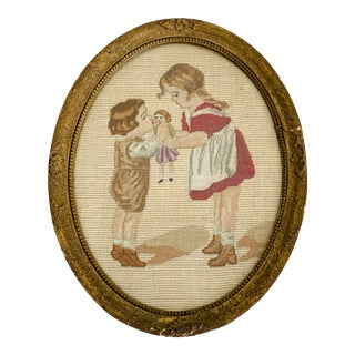 Antique Petit Point Needlepoint Oval Framed Children For Sale