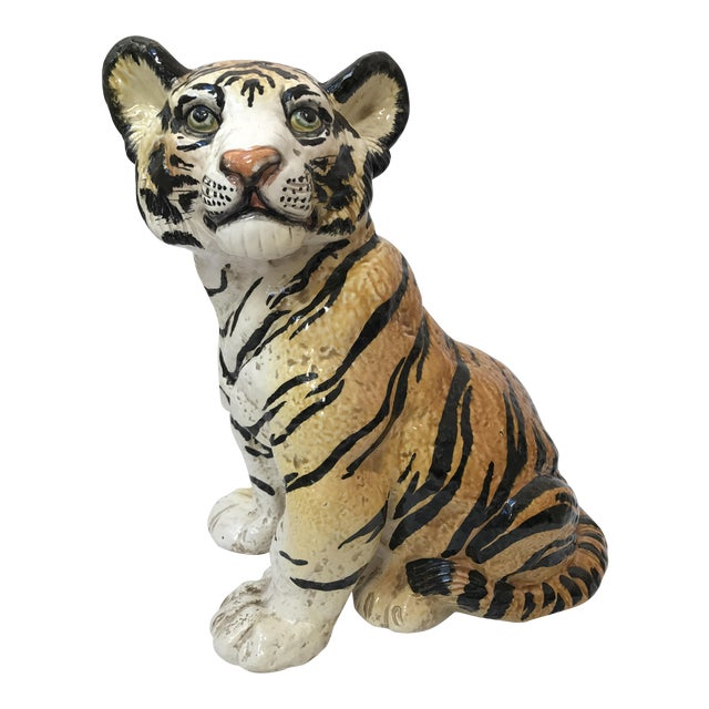 Hand Painted Italian Ceramic Tiger - Image 1 of 9