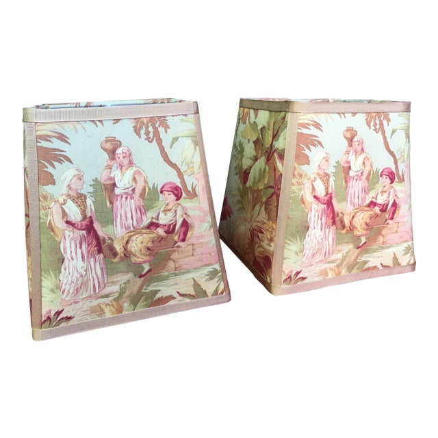 Newly Made Antique French Scene Fabric Lampshades - a Pair For Sale