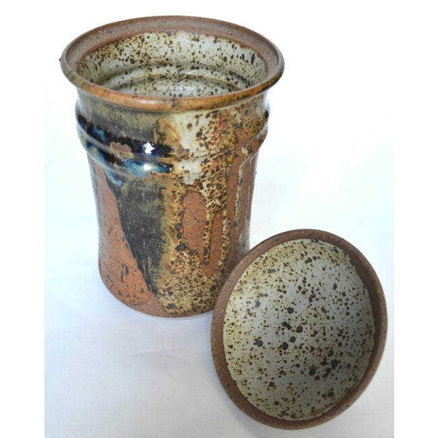 """Mid Century Tall Stoneware Lidded Container Jar 11"""" For Sale - Image 4 of 6"""
