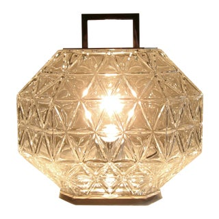 Treasure Crystal Engraved Table Lamp For Sale