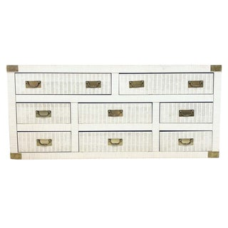 Midcentury Hollywood Regency Palm Beach White Wicker & Brass 8-Drawer Campaign Dresser For Sale