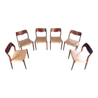 1960s Vintage j.l. Møller Model 71 Dining Chairs- Set of 6 For Sale