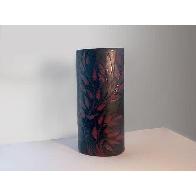 Vintage Andersen Design Vase in Red Leaf on Ebony Glaze Pattern For Sale - Image 4 of 7