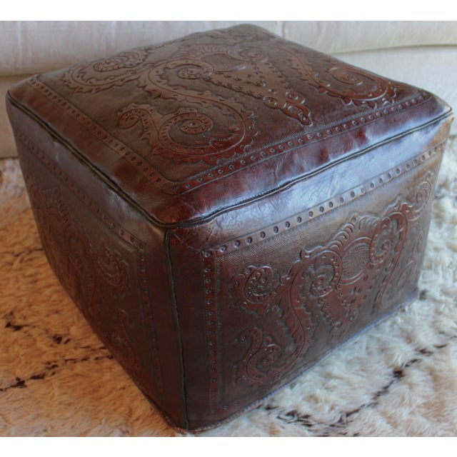 Extra Large Vintage Hand Tooled Peruvian Saddle Leather Angel Pazmino Style Ottoman For Sale - Image 12 of 12