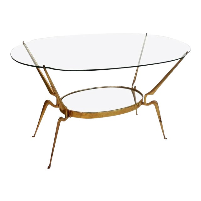 1950s Italy Mid-Century Modern Brass / Glass Coffee Table by Cesare Lacca For Sale