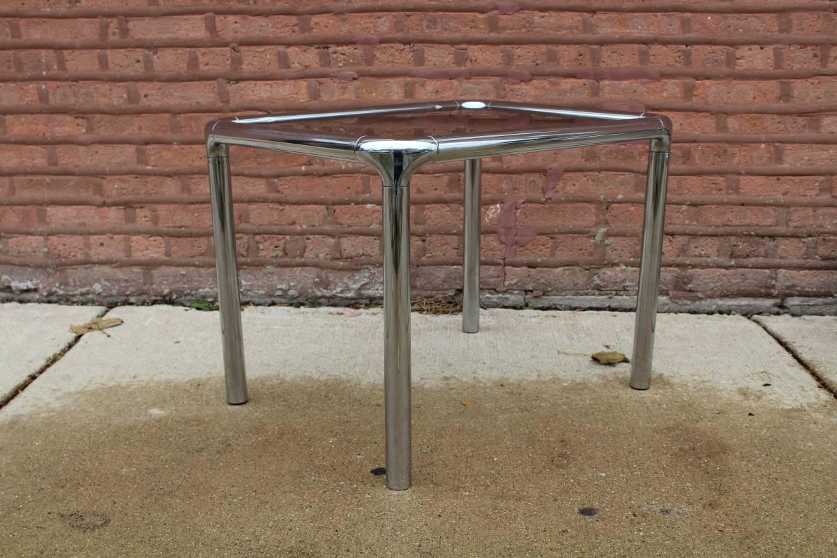 Tubular Chrome \u0026 Smoky Glass Coffee Table \u0026 Side Tables - Set of 3 - Image  sc 1 st  Chairish & Tubular Chrome \u0026 Smoky Glass Coffee Table \u0026 Side Tables - Set of 3 ...