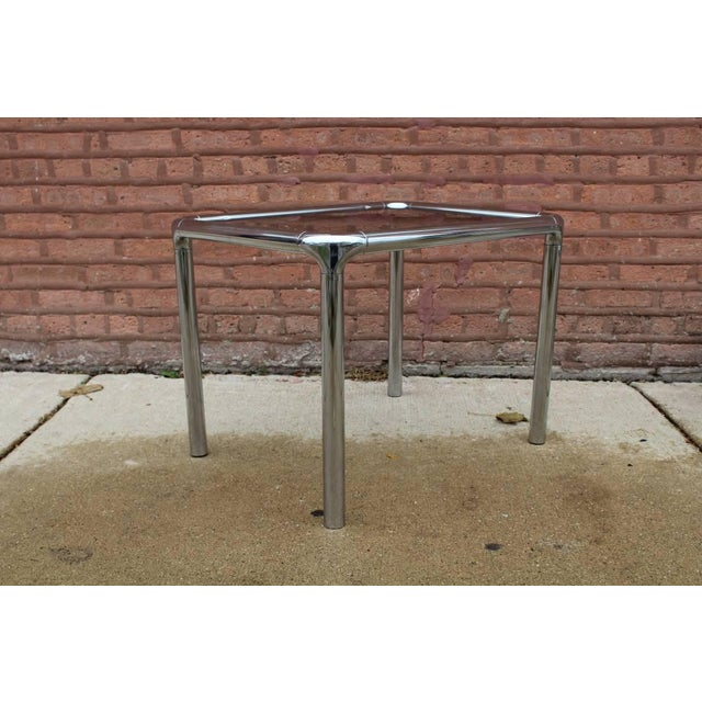 This Is An Amazing Set Of Tubular Chrome Mid Century Tables In The Style Milo Bauhaus Smoky Glass Coffee Table Side