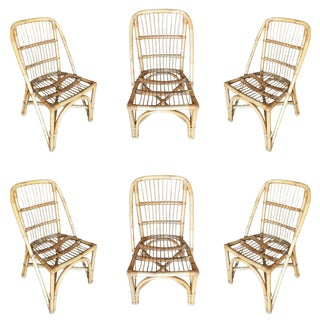Restored Mid-Century Rattan Dining Side Chair W/ Stick Rattan Seat, Set of Six For Sale
