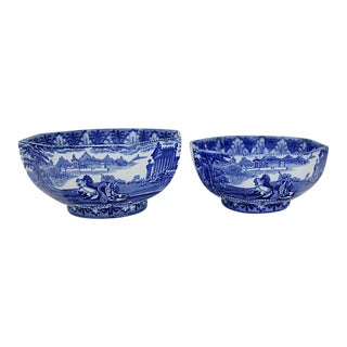 Flow Blue Chariots Serving Bowls - a Pair For Sale