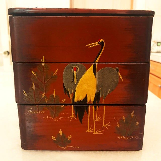 Vintage Japanese Lacquer Stacking Bento Box with Cranes, C 1940s For Sale - Image 13 of 13