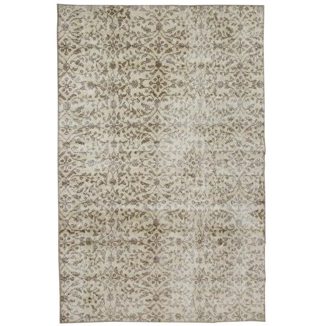 "Floral Beige Overdyed Carpet Rug - 3'11"" x 5'10"" For Sale"