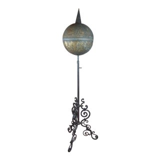 19th C. Antique Brass Globe on Wrought Iron Stand-Outdoor Garden Decor For Sale