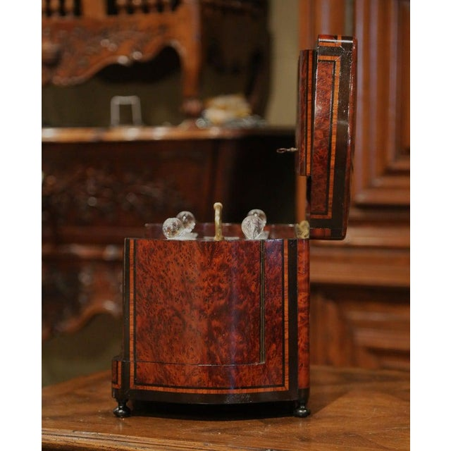 Create an elegant bar area with this antique and complete fruitwood liquor box from France. Created circa 1870 and bowed...