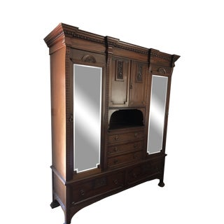 1920's English Mahogany Linen Press For Sale