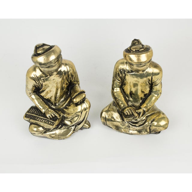 Metal Gold Praying Monks Ceramic Statues - a Pair For Sale - Image 7 of 10