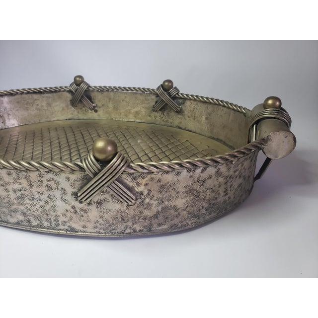 Silver Vintage John Richard Collection Silver Plate Hammered Serving Tray For Sale - Image 8 of 13