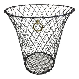Two French Mid-Century Modern Wire Waste Baskets in Style of Jacques Adnet