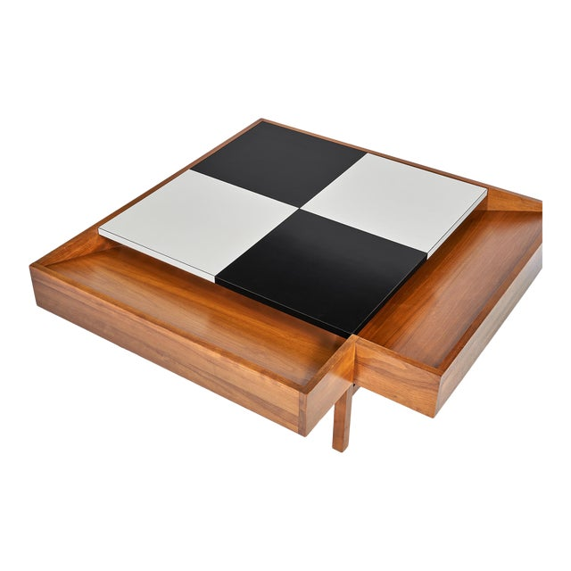 Coffee Table Designed by John Keal for Brown Saltman Checked Surface Lifts to Reveal Storage Circa 1950s For Sale