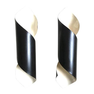 Pair of Black Tole Witty Sconces in the Style of Serge Mouille