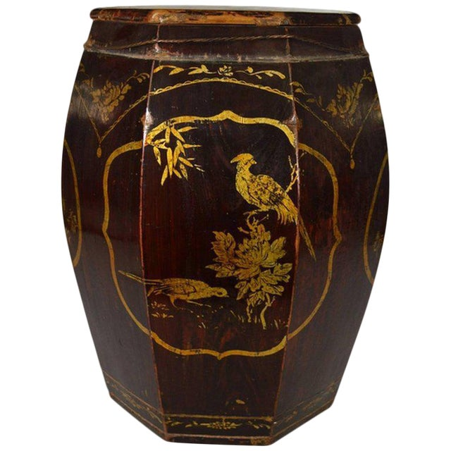 Hand-Painted Grain Storage Barrel With Medallions From, China, 19th Century For Sale