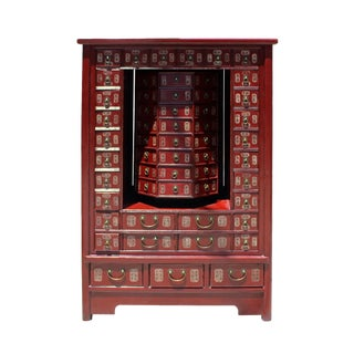 Chinese Distressed Red 95 Drawers Medicine Apothecary Cabinet For Sale