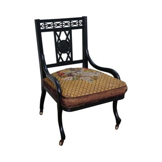 Antique 19th Century Ebonized Slipper Side Chair For Sale