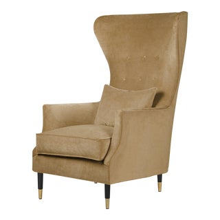 1950s Vintage Italian Camel Wingback Lounge Chair For Sale