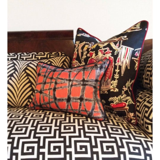 Mid-Century Abstract Navy & Coral Throw Pillows - A Pair - Image 5 of 5