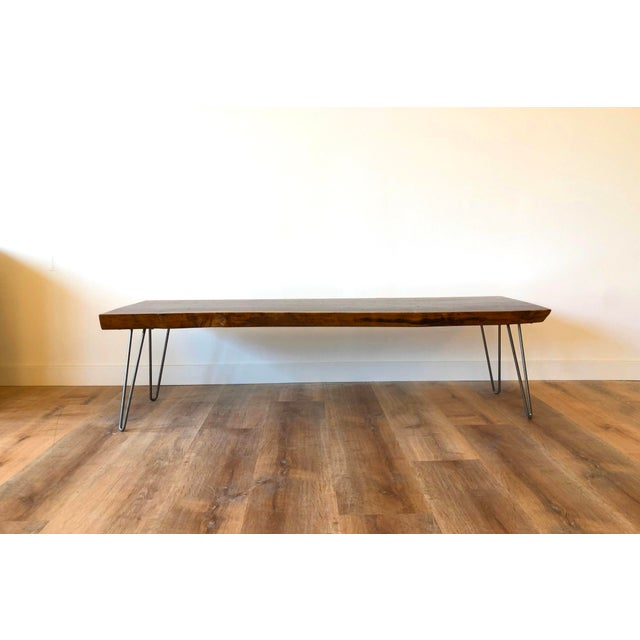 2010s Modern Raw Edge Slab Coffee Table With Hair Pin Legs For Sale - Image 5 of 11