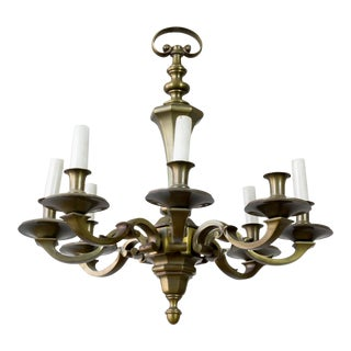1940's French Bronze Neoclassical Style Chandelier With 8 Arms For Sale