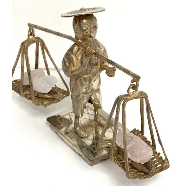 Chinese Export Sterling Figures of Labourers Carrying Rose Quartz - a Pair For Sale - Image 4 of 13