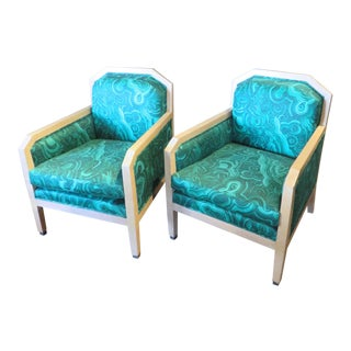 Jim Thompson Malachite Upholstery William Switzer Art Deco Club Chairs- A Pair For Sale