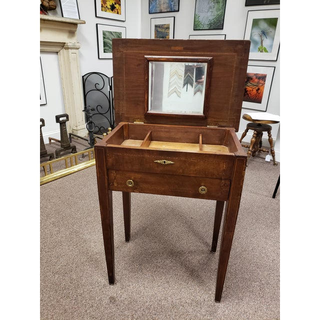 Antique 19th century Inlaid Wooden Dressing / Vanity Table with Hinged flip up top. has 3 separated compartments under the...