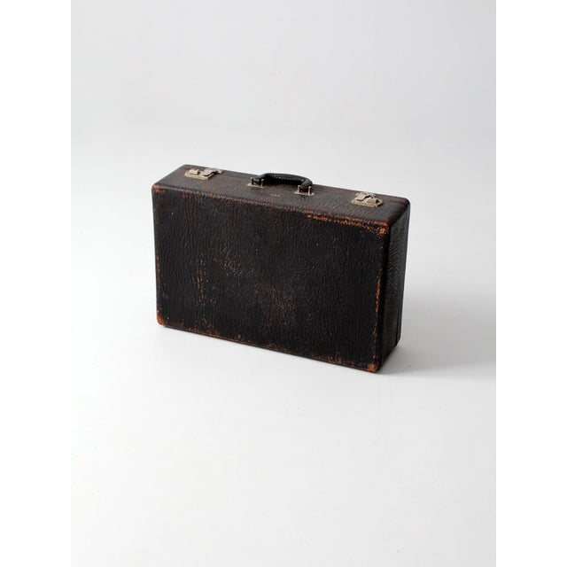 Vintage Black Leather Suitcase - Image 4 of 7