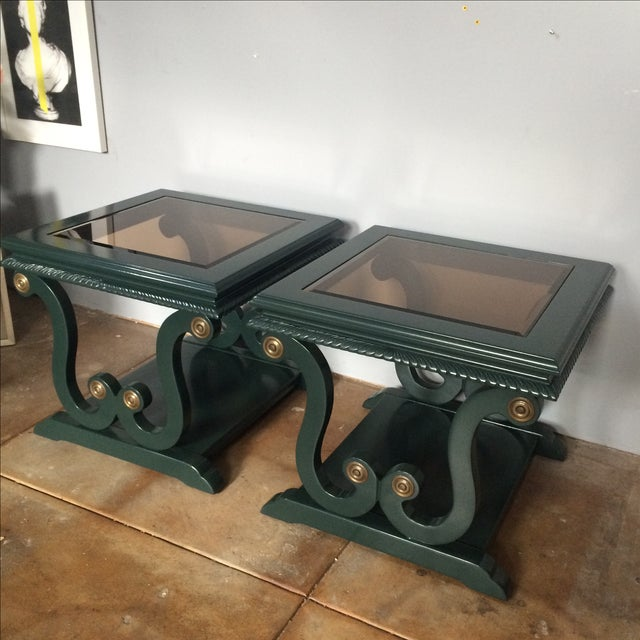 Harp-Shape Lacquer Side Tables - A Pair For Sale - Image 4 of 10