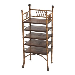 19th Century English Bamboo Oak and Burl Magazine Rack Stand For Sale