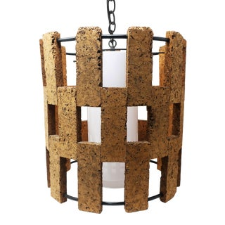 Mid-Century Modern Cork Pendant Lamp For Sale