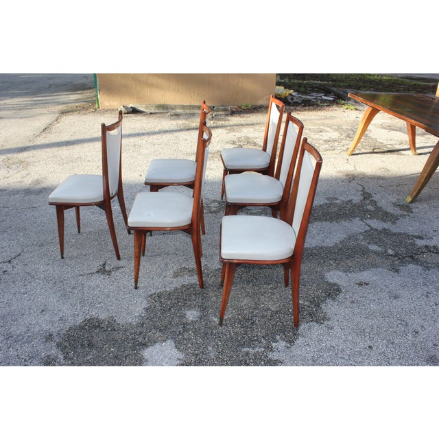 1950s Set of 6 French Art Deco or Art Modern Solid Mahogany Dining Chairs Circa 1950s For Sale - Image 5 of 13